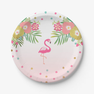 Flamingo Birthday Paper Plates Tropical Luau