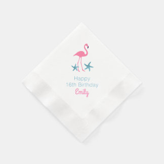 Flamingo Birthday Party Personalized Name Napkins Paper Serviettes