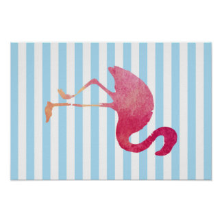 Flamingo, blue and white stripes, to summer poster