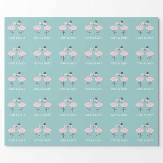Flamingo Bride and Groom Personalised Gift Wrap