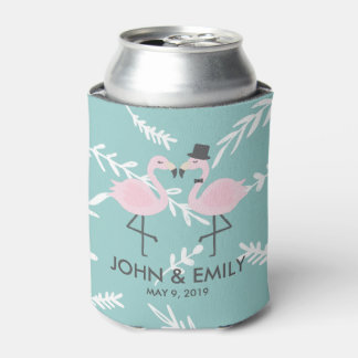 Flamingo Bride and Groom Personalized Can Cooler
