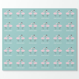 Flamingo Bride and Groom Personalized Gift Wrap Wrapping Paper
