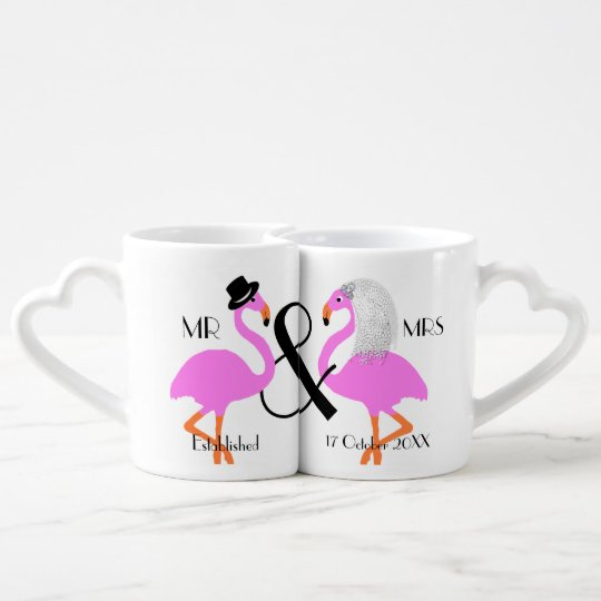 Flamingo Bride Groom Personalised Wedding Gift Coffee Mug