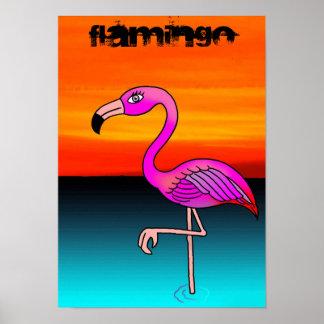 Flamingo cartoon poster
