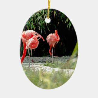 flamingo ceramic oval decoration