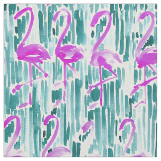 FLAMINGO CHILL Tropical Watercolor Print Fabric