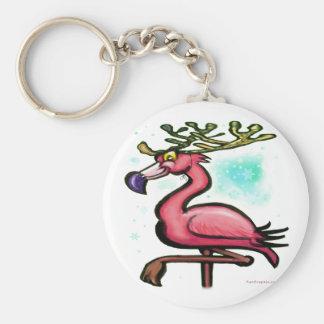 Flamingo Christmas Reindeer Key Ring