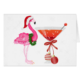 Flamingo Cocktail Christmas Card - SRF