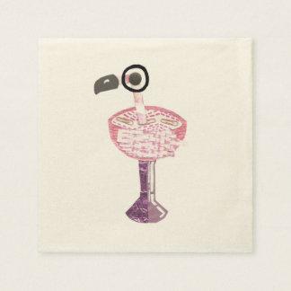 Flamingo Cocktail Ecru Napkins Disposable Serviette