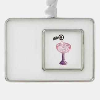 Flamingo Cocktail Framed Ornament