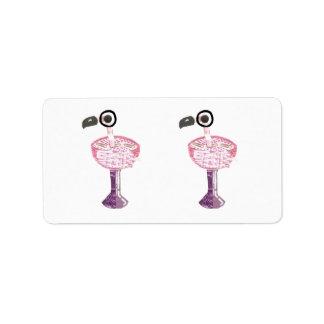 Flamingo Cocktail Return Address Labels