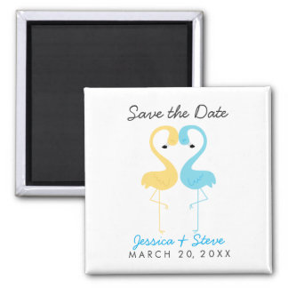 Flamingo Couple Wedding Save the Date Square Magnet