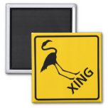Flamingo Crossing Highway Sign Square Magnet