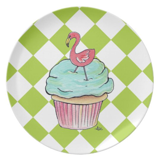 Flamingo Cupcake Chequered Plate