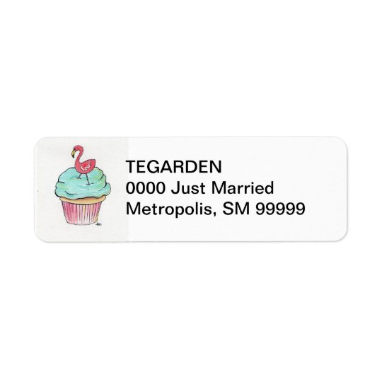 Flamingo Cupcake Return Address Label
