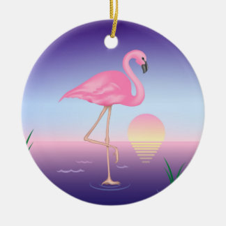 Flamingo Double-Sided Ceramic Round Christmas Ornament