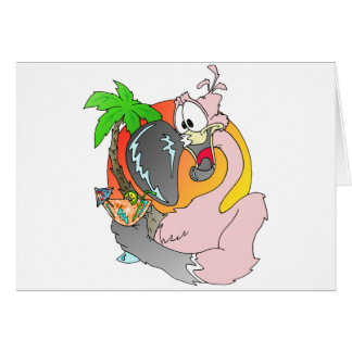 Flamingo Drink Greeting Card