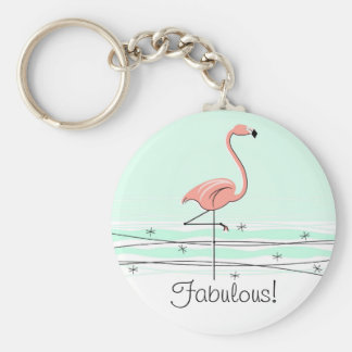 Flamingo 'Fabulous!' key chain green