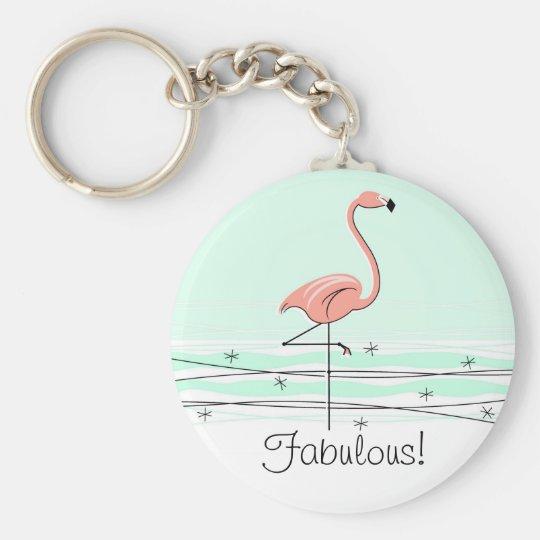 Flamingo 'Fabulous!' key chain green