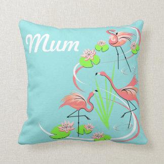 Flamingo Fandango Trio Mum throw pillow