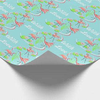 Flamingo Fandango Trio With Love gift wrap