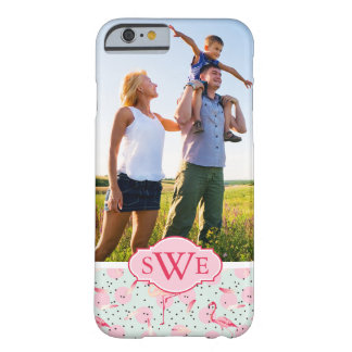 Flamingo Feathers & Dots | Monogram Barely There iPhone 6 Case