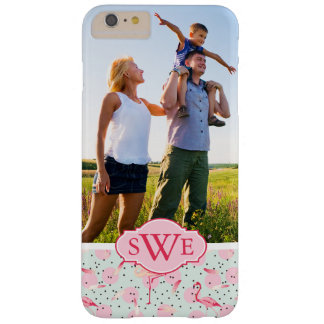 Flamingo Feathers & Dots | Monogram Barely There iPhone 6 Plus Case