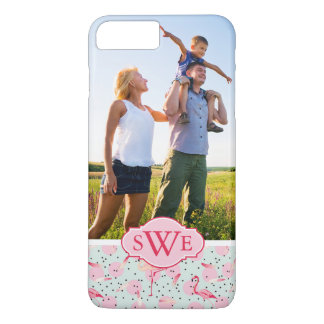Flamingo Feathers & Dots | Monogram iPhone 8 Plus/7 Plus Case