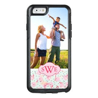Flamingo Feathers & Dots | Monogram OtterBox iPhone 6/6s Case