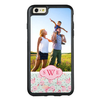 Flamingo Feathers & Dots | Monogram OtterBox iPhone 6/6s Plus Case