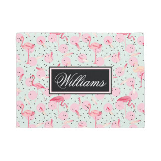 Flamingo Feathers On Polka Dots | Add Your Name Doormat