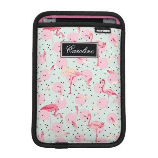 Flamingo Feathers On Polka Dots | Add Your Name iPad Mini Sleeve