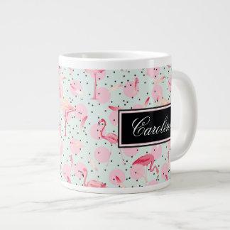 Flamingo Feathers On Polka Dots | Add Your Name Large Coffee Mug