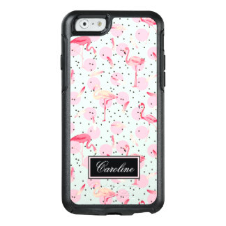Flamingo Feathers On Polka Dots | Add Your Name OtterBox iPhone 6/6s Case