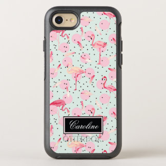 Flamingo Feathers On Polka Dots | Add Your Name OtterBox Symmetry iPhone 8/7 Case