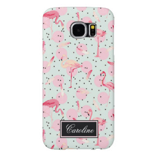 Flamingo Feathers On Polka Dots | Add Your Name Samsung Galaxy S6 Cases