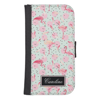 Flamingo Feathers On Polka Dots | Add Your Name Samsung S4 Wallet Case