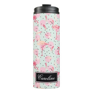 Flamingo Feathers On Polka Dots | Add Your Name Thermal Tumbler