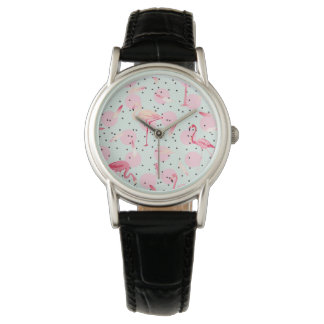 Flamingo Feathers On Polka Dots Watch
