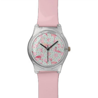 Flamingo Feathers On Polka Dots Wristwatch
