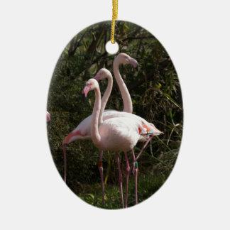 Flamingo Flock Ceramic Oval Decoration
