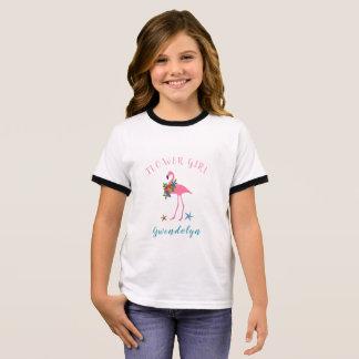 Flamingo Flower Girl Name Beach Wedding T-Shirt