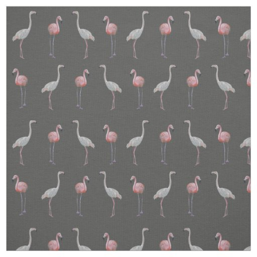 Flamingo Frenzy Fabric (Grey)