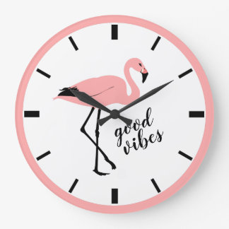 Flamingo Good Vibes Pink Black Cute Wall Clock