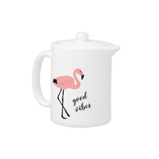 Flamingo Good Vibes Pink Black Teapot