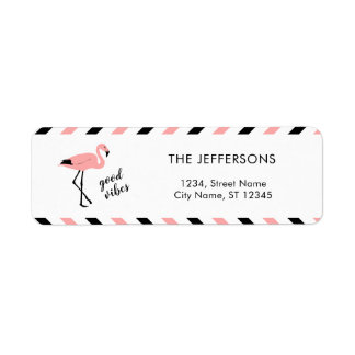 Flamingo Good Vibes Pink Return Address Label