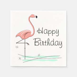 Flamingo Happy Birthday paper napkins