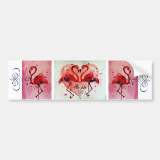 Flamingo/Heart (BE like) - autostickers Bumper Sticker