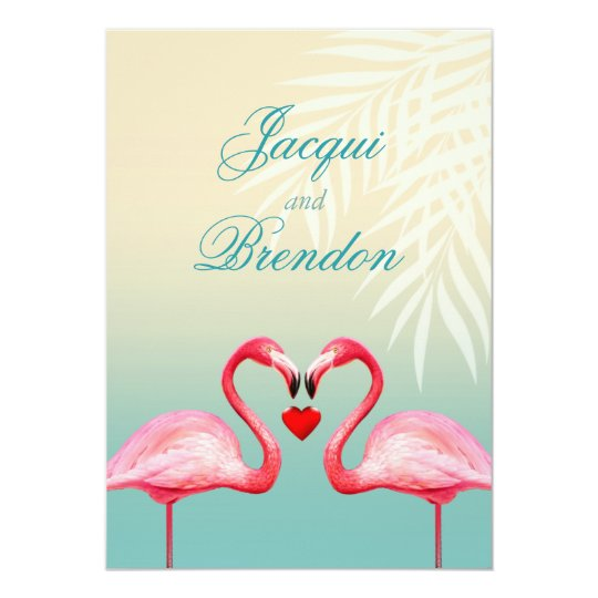 Flamingo Heart Kiss | mint blue Wedding Card