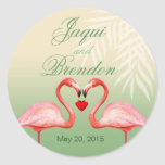 Flamingo Heart Kiss Wedding Favour | jade Round Stickers